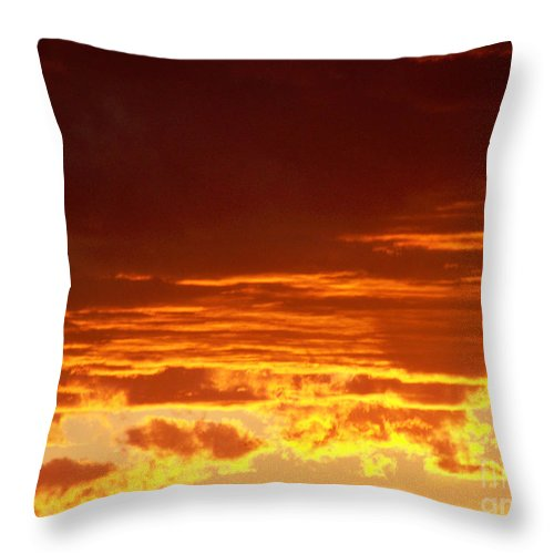 Sunset Throw Pillow featuring the greeting card Fire In The Sky 3 by Brian Commerford