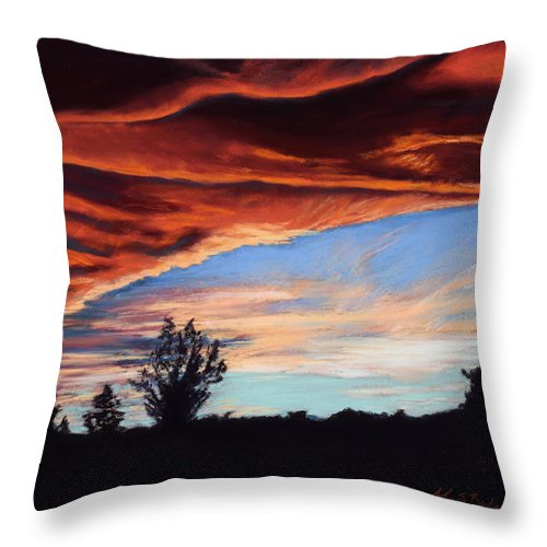 Sunset Throw Pillow featuring the painting Fire In The Sky by Mary Benke