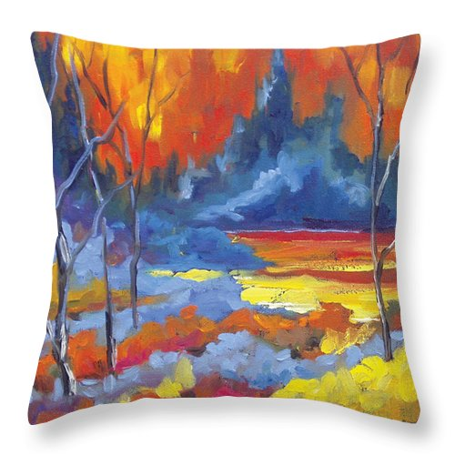 Art Throw Pillow featuring the painting Fire Lake by Richard T Pranke