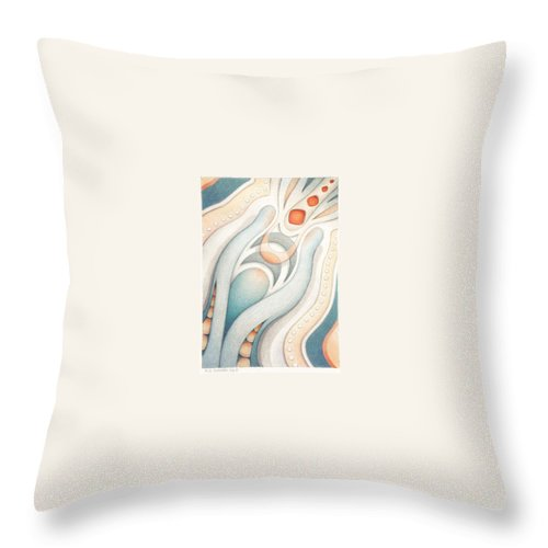Abstract Throw Pillow featuring the drawing Fire Of Inspiration by Amy S Turner