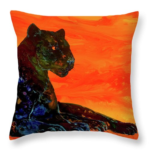 Panther Throw Pillow featuring the painting Fire Panther by Sherry Shipley