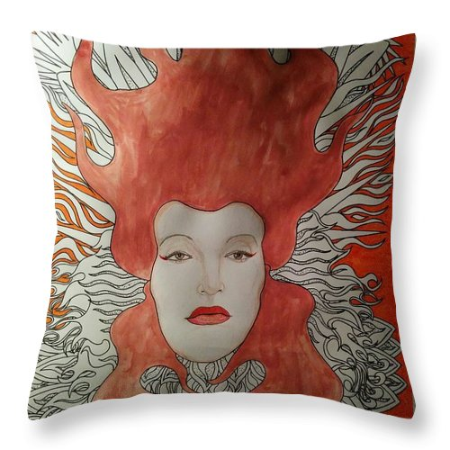 Throw Pillow featuring the mixed media Fire by Rafael Colon