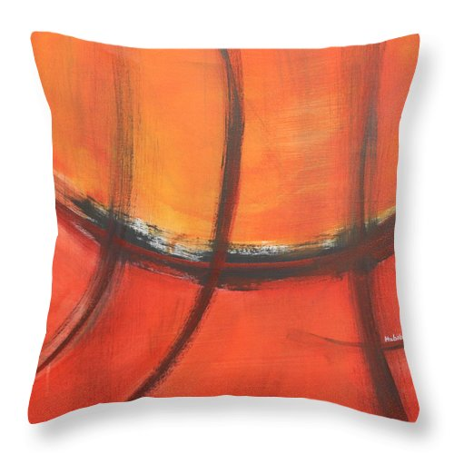 Abstract Throw Pillow featuring the painting Fire Red by Habib Ayat