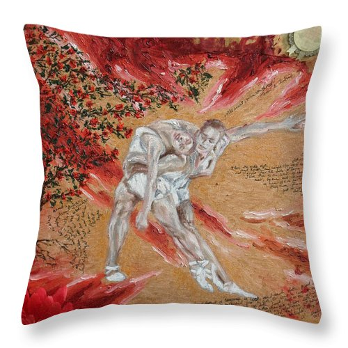 Oil Throw Pillow featuring the painting Fire- The Power Of Love by Agnes V