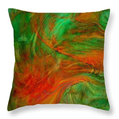Abstract Art Throw Pillow featuring the digital art Fire Tree by Linda Sannuti