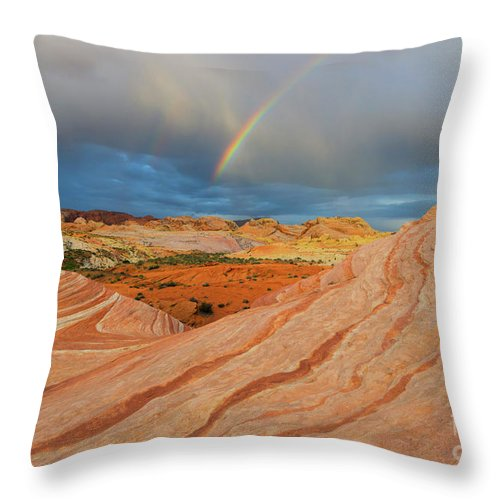 Fire Wave Throw Pillow featuring the photograph Fire Wave Rainbow Dawn by Mike Dawson