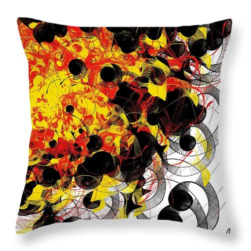 Abstract Throw Pillow featuring the digital art Fire by Yilmar Henry