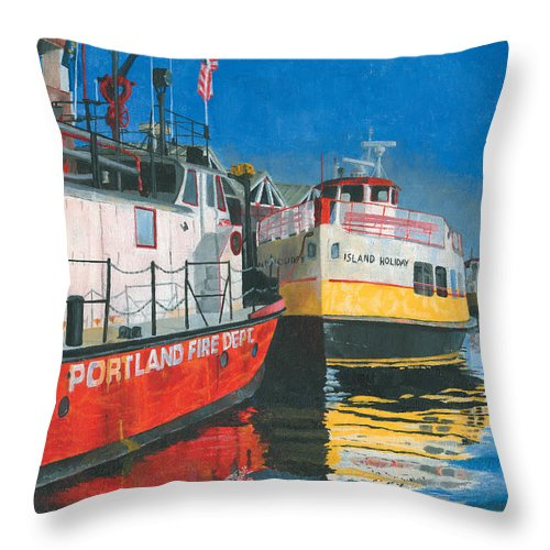 Fireboat Throw Pillow featuring the painting Fireboat And Ferries by Dominic White