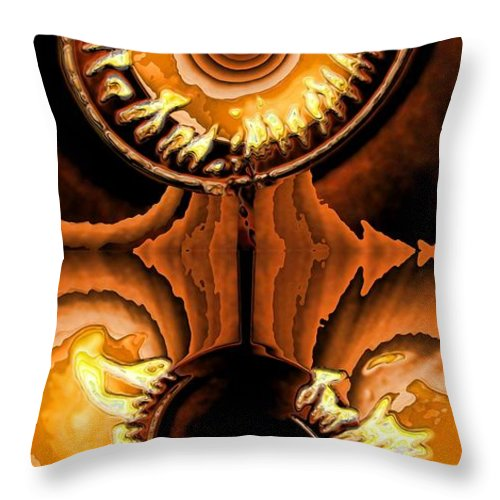 Collage Throw Pillow featuring the digital art Fired Up by Ron Bissett