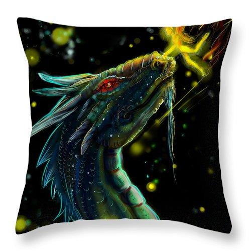 Dragon Throw Pillow featuring the digital art Fireflies by Heather Munzner