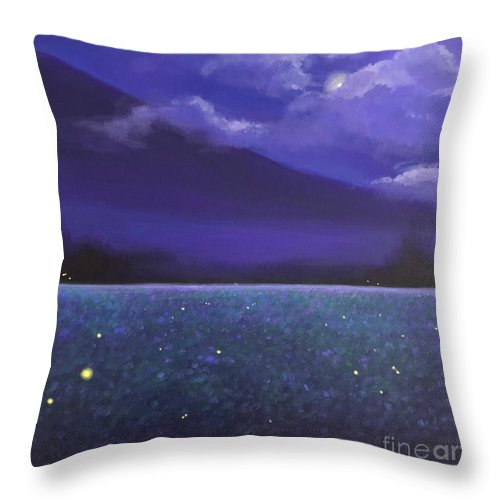 Fireflies Throw Pillow featuring the painting Firefly Night by Hunter Jay