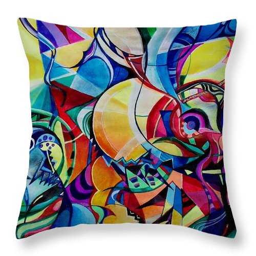 Emil Chakalov Firefly Gypsy Swing Acrylic Abstract Pens Paper Throw Pillow featuring the painting Firefly by Wolfgang Schweizer