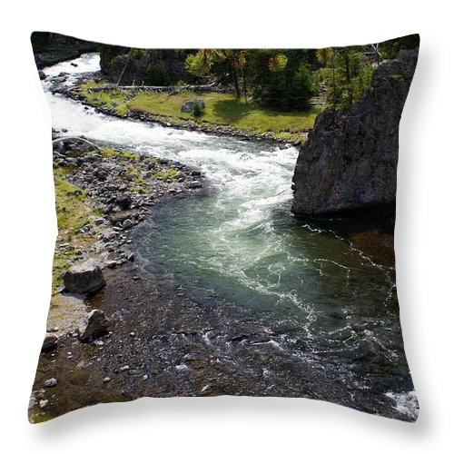 Yellowstone National Park. Firehole River Throw Pillow featuring the photograph Firehole Bend by Marty Koch