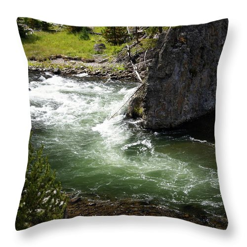 Yellowstone National Park Throw Pillow featuring the photograph Firehole Canyon 1 by Marty Koch