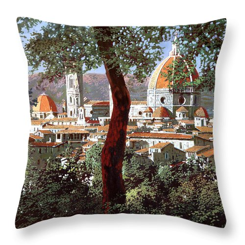 Landscape Throw Pillow featuring the painting Firenze by Guido Borelli
