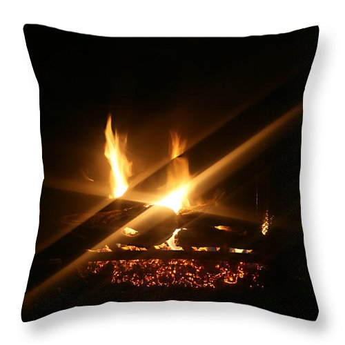 Fireplace Throw Pillow featuring the photograph Fireplace by Ellen Henneke