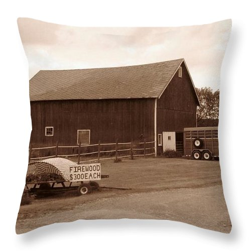 Barn Throw Pillow featuring the photograph Firewood For Sale by Rhonda Barrett