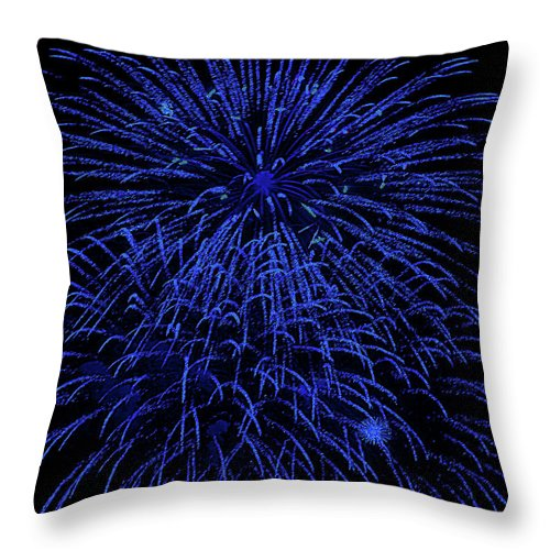 Fireworks Throw Pillow featuring the digital art Firework Blues by DigiArt Diaries by Vicky B Fuller