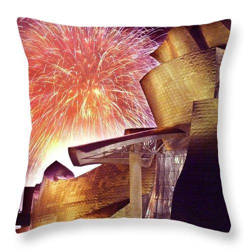 Spain Throw Pillow featuring the photograph Fireworks At Guggenheim by Rafa Rivas