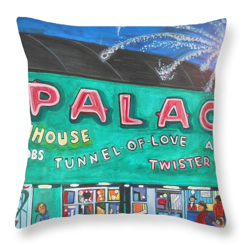 Asbury Park Art Throw Pillow featuring the painting Fireworks At The Palace by Patricia Arroyo