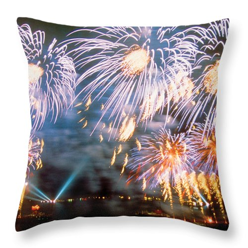 Fireworks Throw Pillow featuring the photograph Fireworks Blue by Steve Somerville