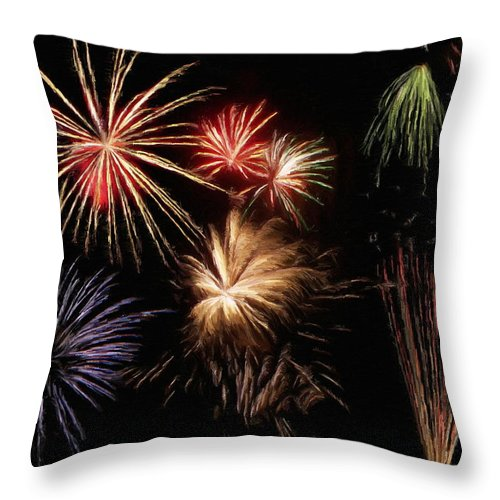 Fireworks Throw Pillow featuring the painting Fireworks by Jeffrey Kolker