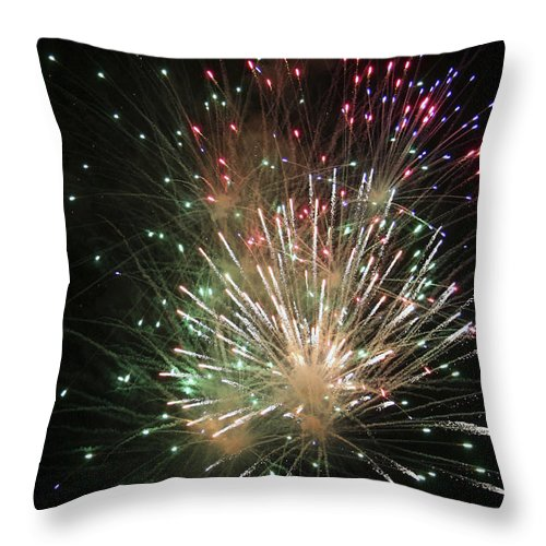 Fireworks Throw Pillow featuring the photograph Fireworks by Margie Wildblood