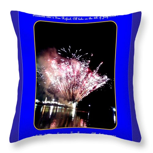 Fireworks Throw Pillow featuring the photograph fireworks over San Rafael lake by Anthony Benjamin