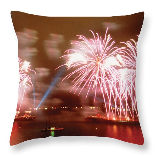Fireworks Red Throw Pillow featuring the photograph Fireworks Red by Steve Somerville