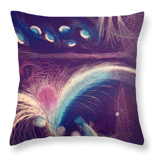 Abstract Throw Pillow featuring the mixed media Fireworks by Steve Karol
