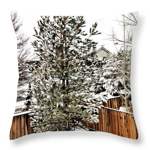 Pine Throw Pillow featuring the photograph First Blanket Of Snow by Nancy Marie Ricketts