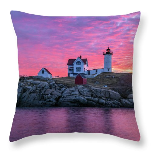 Cape Neddick Throw Pillow featuring the photograph First Blush by Michael Blanchette