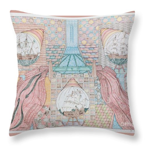 Fantasy Throw Pillow featuring the mixed media First Bridge With Ships by Robert Robbins