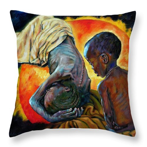 Starvation Throw Pillow featuring the painting First Corinthians 1-25 by John Lautermilch