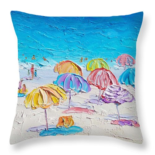 Beach Throw Pillow featuring the painting First Day Of Summer by Jan Matson