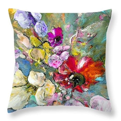 Nature Painting Throw Pillow featuring the painting First Flowers by Miki De Goodaboom