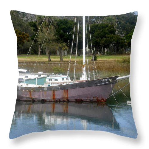 Boat Throw Pillow featuring the photograph First Harbor by David Lee Thompson