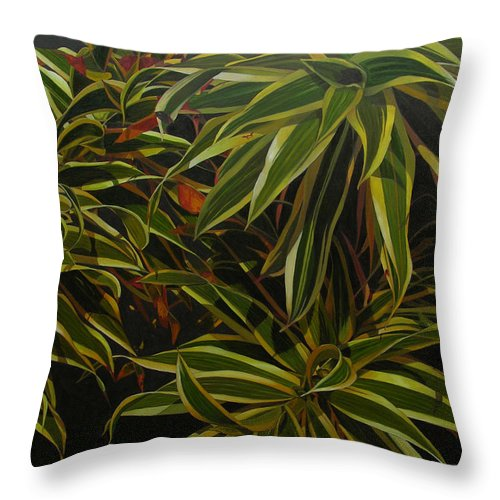 Leaves Throw Pillow featuring the painting First In Cabot by Thu Nguyen