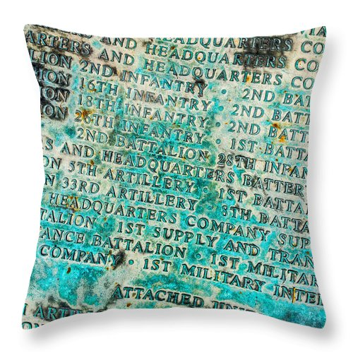 1id Throw Pillow featuring the photograph First Infantry Division Memorial Plaque by SR Green
