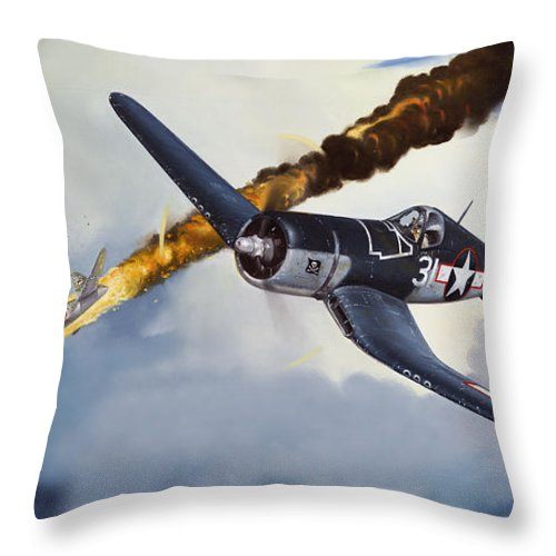 Military Throw Pillow featuring the painting First Kill For The Jolly Rogers by Marc Stewart
