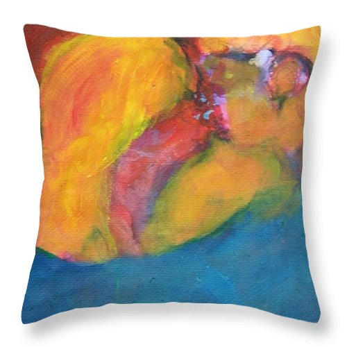 Abstract Throw Pillow featuring the painting First Kiss by Judith Redman