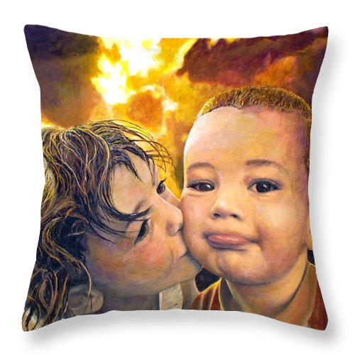 Children Throw Pillow featuring the painting First Kiss by Michael Durst