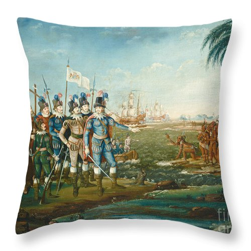 Throw Pillow featuring the painting First Landing Of Christopher Columbus by Frederick Kemmelmeyer