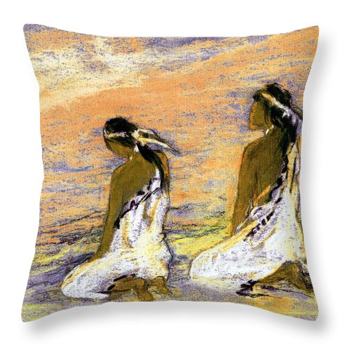 Native Throw Pillow featuring the mixed media First Light by Alexandra Cook