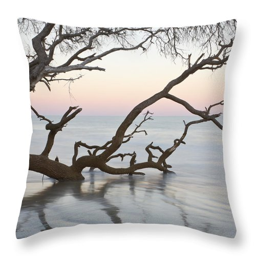 Sunrise Throw Pillow featuring the photograph First Light - Hunting Island South Carolina by Bill Swindaman