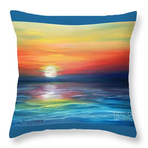 Sunrise Throw Pillow featuring the painting First Light by Lora Duguay