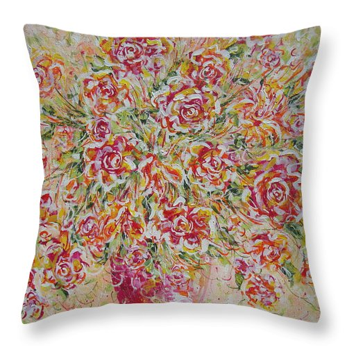 Flowers. Floral Throw Pillow featuring the painting First Love Flowers by Natalie Holland