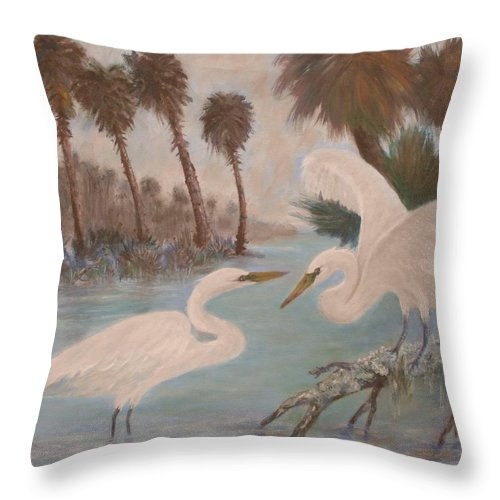 Egret Throw Pillow featuring the painting First Meeting by Ben Kiger