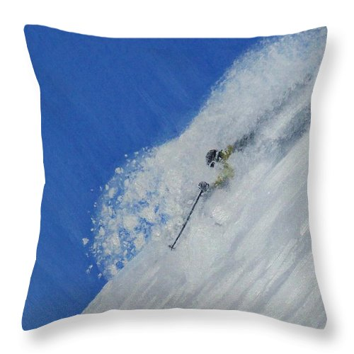 Ski Throw Pillow featuring the painting First by Michael Cuozzo