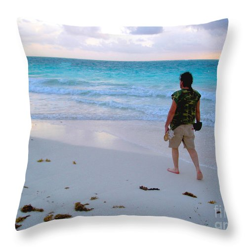 Carribean Throw Pillow featuring the photograph First Mornin' Walk by CheyAnne Sexton